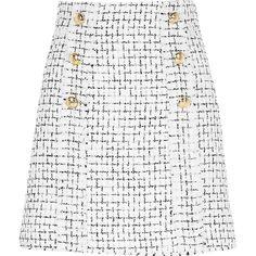 White boucle gold button mini skirt