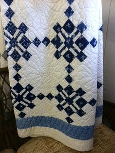 blue and white quilt, how pretty is this and looks to be an easy quilt block.