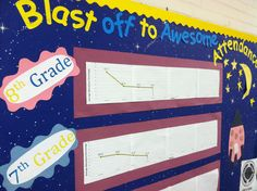 "Attendance data, displayed grade-by-grade with a ""outer space"" theme."
