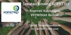 Koperasi Kakitangan PETRONAS Berhad Jawatan Kosong KOPETRO 19 - 30 November 2016  Koperasi Kakitangan PETRONAS Berhad (KOPETRO) mencari calon-calon yang sesuai untuk mengisi kekosongan jawatan KOPETRO terkini 2016.  Jawatan Kosong KOPETRO 19 - 30 November 2016  Warganegara Malaysia yang berminat bekerja di Koperasi Kakitangan PETRONAS Berhad (KOPETRO) dan berkelayakan dipelawa untuk memohon sekarang juga. Jawatan Kosong KOPETRO Terkini November 2016 1. Department Head - Central Kitchen…