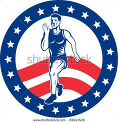 vector illustration of a illustration of a Marathon road runner jogger fitness training road running with American stars and stripes in background inside circle - stock vector #runner #retro #illustration