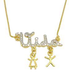 """Gargantilha """"Vida"""" banhada em ouro 18K e cravejada de zirconias, com detalhes em rhodium.  www.lilaportosemijoias.com.br"""