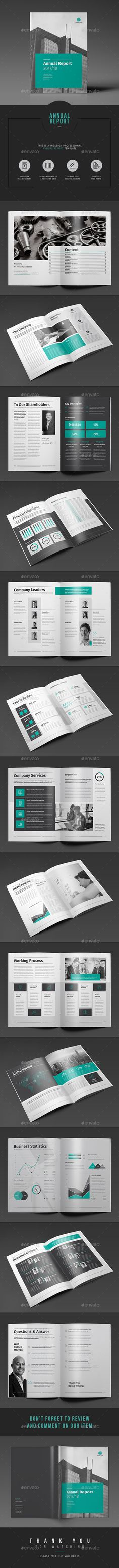 28 Pages INDESIGN Annual Report Template - Master Pages + 12 Grids Layout | Unlimited Color Variations | Free Fonts + IDML Version Available | Download https://graphicriver.net/item/annual-report/17865555?ref=themedevisers