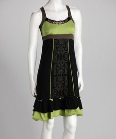 Look what I found on #zulily! Black & Lime Sundress - Women by Coline USA #zulilyfinds