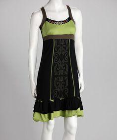 Look at this #zulilyfind! Black & Lime Sundress - Women by Coline USA #zulilyfinds