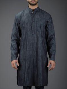 Buy Grey Mandarin Collar Full Sleeve Denim Kurta Men Kurtas Online at Jaypore.com