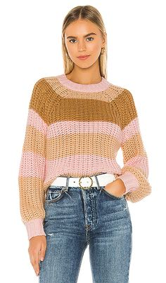 Finders Keepers Mariposa Knit Pullover in Pink,Brown. Young Fashion, Pop Fashion, World Of Fashion, Finders Keepers, Pink Brown, Pink Stripes, Fashion Forward, Crochet Top, Casual Dresses