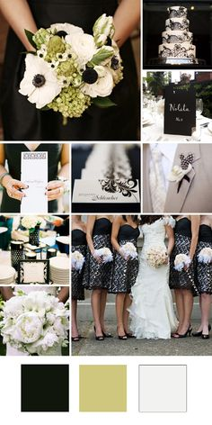 Wedding colors really like and would be easy. black white green and off white