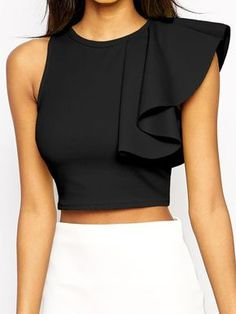 Sexy Women One Shoulder Ruffle Crop Top Round Neck Sleeveless Fitness Tank Top T-Shirt Croped Feminino Blusas Black/Yellow Cropped Tops, Black Crop Tops, Black Tank, Black Women Fashion, Latest Fashion For Women, Mode Top, Tank Top Outfits, Crop Blouse, Fashion Clothes