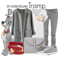 Tramp by leslieakay on Polyvore featuring WearAll, Frame Denim, Converse, Meli Melo, Valentino, Bling Jewelry, disney, disneybound and disneycharacter