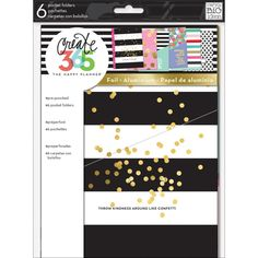 """Pre-punched pocket folders measure 7""""x9.25"""". Three of the designs are treated with foil."""