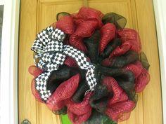 Mesh Wreath -- Garnet and Black $30
