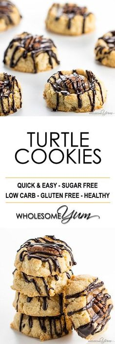 Thumbprint Caramel Pecan Turtle Cookies Recipe - An EASY caramel pecan turtle cookies recipe that looks and tastes impressive! No one will believe these thumbprint cookies are sugar-free & gluten-free. (paleo sweets one pot) Gluten Free Cookie Recipes, Sugar Free Desserts, Sugar Free Recipes, Gluten Free Cookies, Gluten Free Desserts, Low Carb Sweets, Low Carb Desserts, Low Carb Recipes, Real Food Recipes