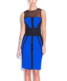 Another great find on #zulily! Blue & Black Mesh-Panel Sheath Dress by Bariano #zulilyfinds