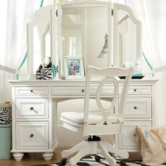 Chelsea Vanity from PBteen. Saved to Epic Wishlist. Shop more products from PBteen on Wanelo. My New Room, My Room, Pb Teen, Super Sets, Vanity Desk, Vanity Area, Pottery Barn Teen, Shabby Chic Bedrooms, Beveled Mirror