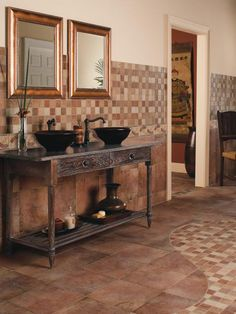 This classic choice for bathroom floors offers durability and a variety of designs.