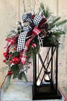 Decoración de Navidad linterna Evergreen Swag Swag-vacaciones