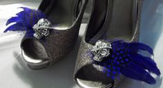 Skulll Shoe Clips  Royal Blue and Black Feathers by ShoeClipsOnly, $46.00