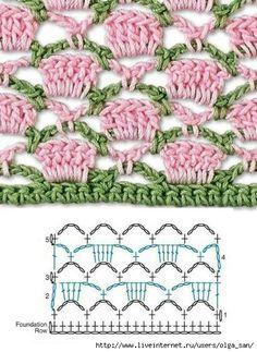 Encontrei estas amostras de padrões de crochê lindas. As tramas mais fechadas devem dar um efeito bem bonito para tapetes.