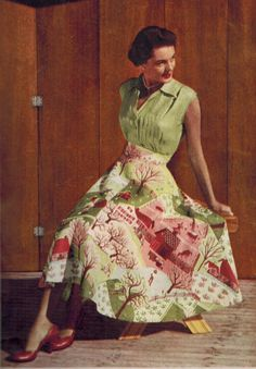 Model wearing a pink and green novelty print skirt, 1950s.
