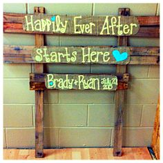 Pallet and burlap wedding sign-Happily ever after...