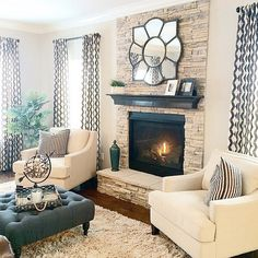 Cozy Living Room Ideas for Your Home Decoration is part of Living Room Inspiration Cozy - xxxxx Cozy Living Rooms, Home Living Room, Living Room Designs, Living Spaces, Neutral Living Rooms, Ivory Living Room, Blue Curtains Living Room, Living Room Decor Fireplace, Romantic Living Room