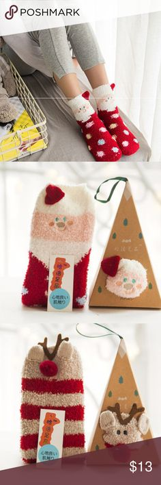 """Cute Red Polka Dot Santa Socks w/ Ornament Box These cute fuzzy Santa socks includes a Santa hat, and has polka dots all around, and includes an easy to assemble ornament box as pictured. Also available in reindeer, gray dog, and orange fox as in the other pictures. Makes great stocking stuffers and a cute ornament.  Socks measure approximately 11"""" x 3.25"""" and come with an easy to assemble box.  Let me know if you have any questions. Happy to help. :) Accessories Hosiery & Socks"""