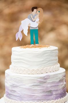 You HAVE To See This DIY, Mermaid + Man Wedding Cake Topper!