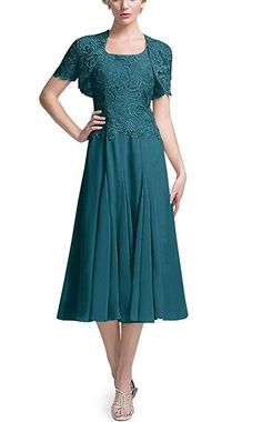 086f6144d9b DINGZAN Chic Tea Length Bride Groom Mother Dresses Bridesmaid Gowns with  Short Lace Sleeves Jacket 12 Teal