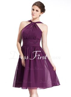 A-Line/Princess Halter Knee-Length Chiffon Bridesmaid Dress With Ruffle (007026277)