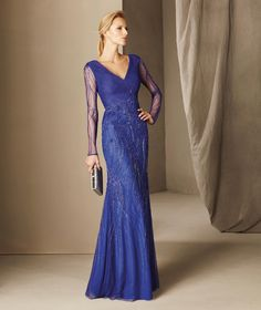 Bohemia - Tulle mermaid maid of honor dress, with a V-neckline and long sleeves