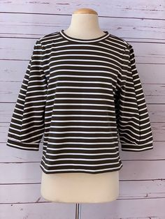 94ad30ef09c New  199 NORDSTROM SIGNATURE Size L Detail Sleeve Top Olive Stripe  fashion   clothing