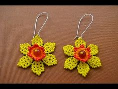 "Earrings Bead ""Narcissus."" Flowers from beads. Beading. Master Class ~ Seed Bead Tutorials"