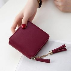 New Casual Coin Purses Carteira Wallet High Capacity Female Leather Tassel Pendant Money Wallets Portefeuille Femme Clutch Bag Leather Tassel, Leather Purses, Leather Wallet, Pu Leather, Trendy Purses, Cheap Purses, Cheap Bags, Small Purses, Unique Purses