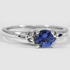 Platinum Sapphire Celtic Love Knot Ring // Set with a 6mm Premium Blue Round Sri Lankan Sapphire #BrilliantEarth