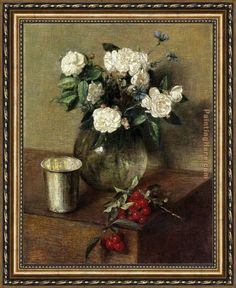 Henri Fantin-Latour White Roses and Cherries Framed Painting