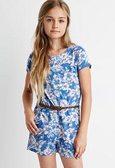 Tropical Print Romper (Kids)   Forever 21 girls - 2000172159