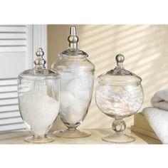 apothecary jars for pretty bathroom storage