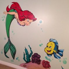 'The Little Mermaid' mural I just finished today for little Emma...