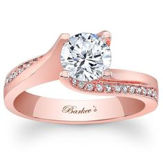 Barkev's 14K Rose Gold Round Cut Diamond Tension Twist Prong Set Engagement Ring Featuring 0.14 Carats Round Cut Diamonds Style 7171LPW