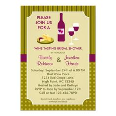 Wine Tasting Couples Bridal Shower Invitation
