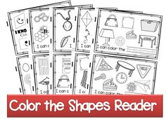 FREE Color the Shapes Reader - Includes shape worksheets for 9 shapes. Kids read a simple sentence, trace the shape and color the appropriate shape. Perfect for math centers, extra practice for toddler, preschool, prek, kindergarten, and first grade.