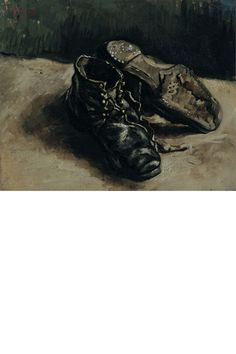 "Van Gogh, ""A pair of shoes,"" 1886. A still life of an old pair of peasant shoes he had discovered at a Paris flea market."