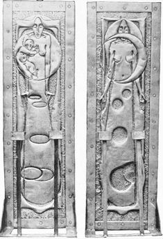 Margaret Macdonald Mackintosh (1865-1933) & Frances Macdonald Macnair (1873-1921) - Pair of Sconces. Beaten Brass. Photograph from THE STUDIO, 11. Circa 1897.