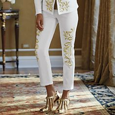 Ankle-Length Jean from Midnight Velvet.   An elegant pairing of white denim and gold embroidery lifts this jean to a dressier level.
