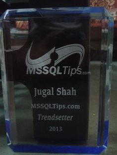 Congrats to Jugal Shah for earning a 2013 MSSQLTip