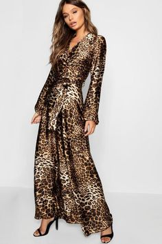Womens Leopard Print Satin Maxi Dress - multi - L Nice Dresses, Summer Dresses, Maxi Dresses, Awesome Dresses, Chiffon Maxi Skirts, Leopard Print Outfits, Belle Silhouette, Latest Fashion For Women, Womens Fashion
