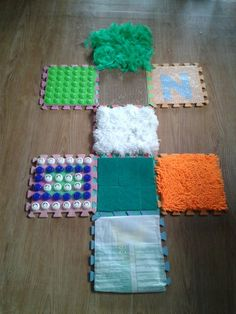sensorial hopscotch! And diy use for this dingy foam letter mats after the kids get sick of them