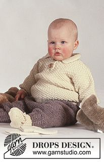 Knitting Patterns Boy Ravelry: Jumper, trousers and booties in seed st pattern by DROPS design Baby Knitting Patterns, Baby Booties Knitting Pattern, Kids Patterns, Knitting For Kids, Free Knitting, Crochet Patterns, Drops Design, Baby Boy Cardigan, Drops Baby