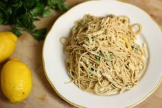 garlic lemon parmesan cheese spaghetti pasta, whole grain, light and healthy